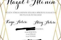 هذا هو موعد حفل زفاف هازال كايا وعلي أطاي في اسطنبول