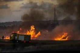 اندلاع 10 حرائق داخل السياج الفاصل شرق قطاع غزة بفعل بالونات حارقة
