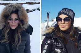 ميريام فارس وأمل بوشوشة تستجمان على الثلج (صور)
