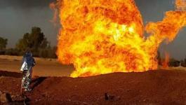 انفجار خط الغاز في سيناء ومحاولات مصرية للسيطرة على الحريق