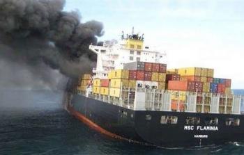 انفجار سفينة شحن في خليج عمان