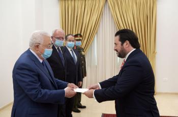 الرئيس يتقبل أوراق اعتماد سفير جمهورية تشيلي لدى فلسطين