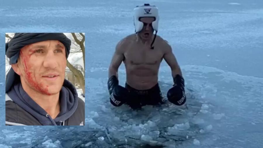 شاهد.. مقاتل يعود لينتقم من الجليد بعد حادثة غريبة