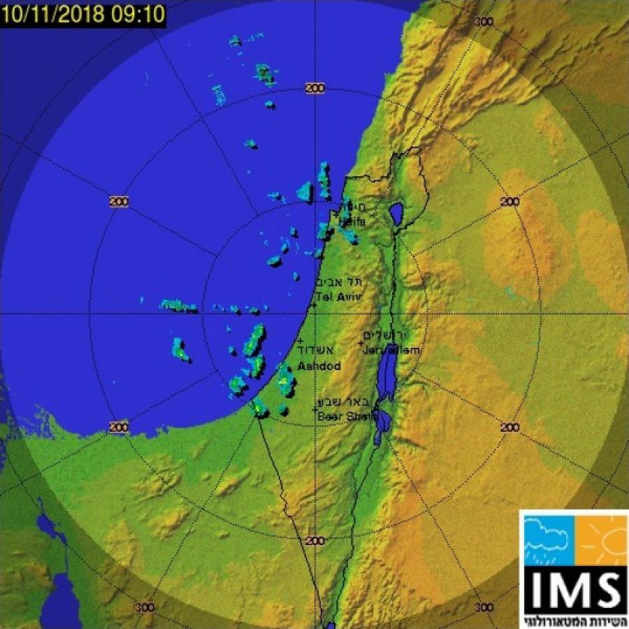 رادار الأمطار الإسرائيلي ينشر صورة توضح هطول الأمطار على ...