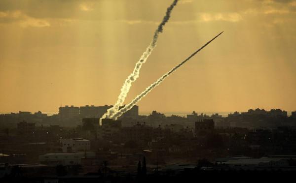 سقوط صاروخ في شعار هنغيف في غلاف غزة