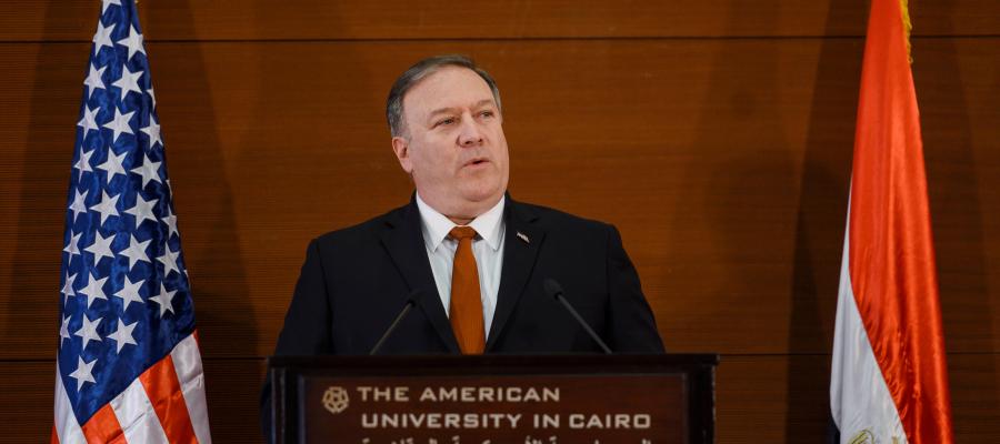 وزير الخارجية الامريكي:عزف النشيد الإسرائيلي في أبوظبي حلم تحقق